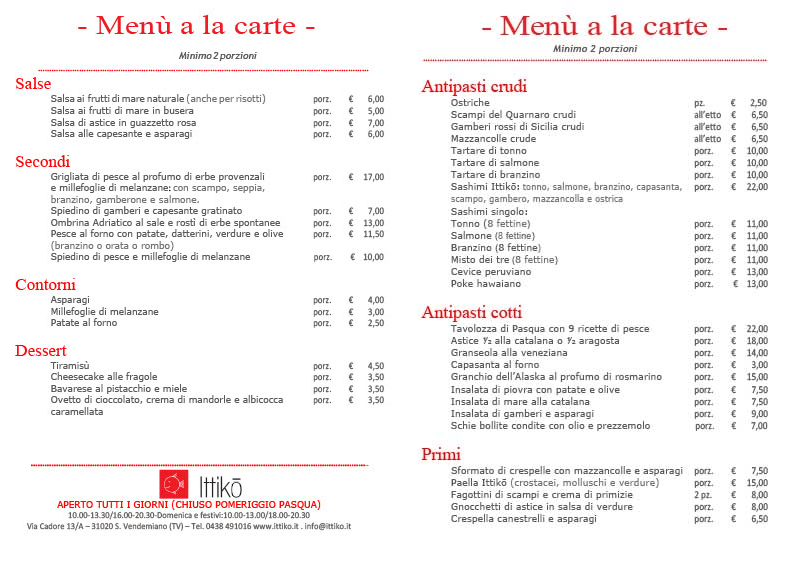 menu alla carta gastronomia tradizionale