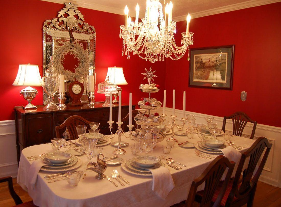 tavola natale bianco e argento